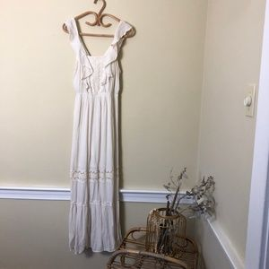 Target Off White Boho Eyelet Lace Maxi Dress S